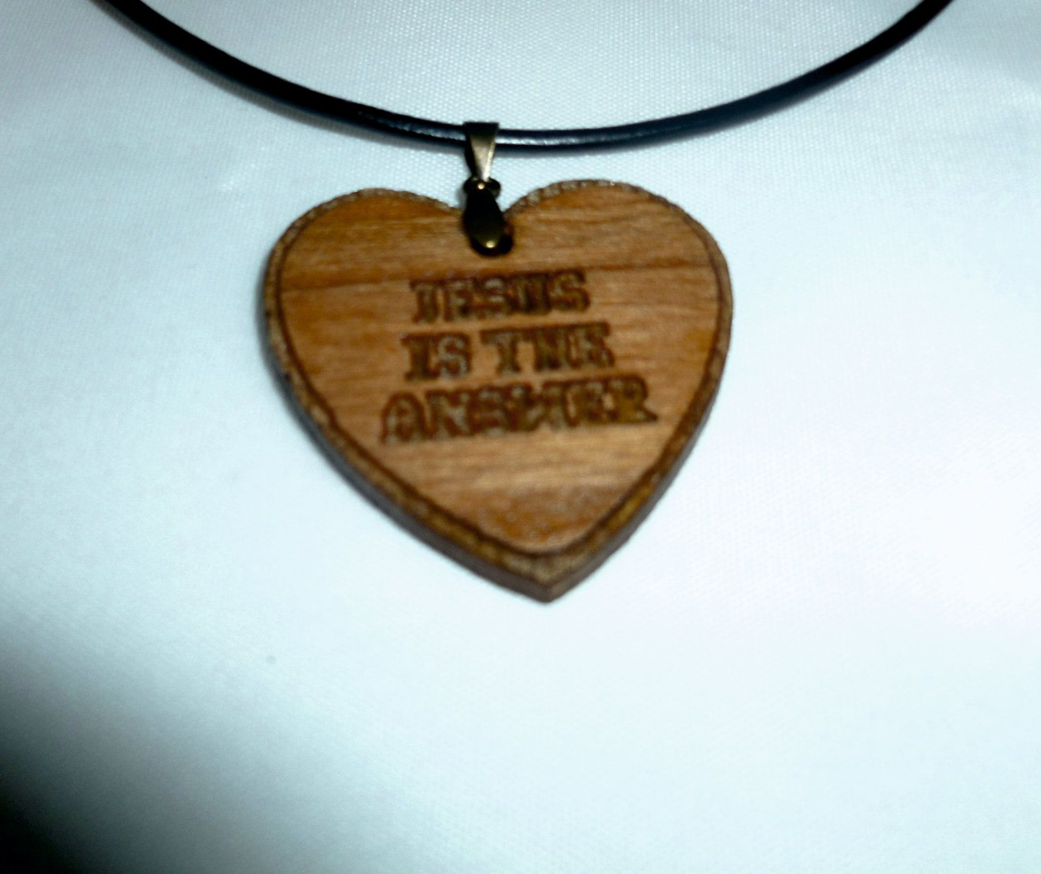 Jesus is the answer heart custom laser pendant with 22 ...