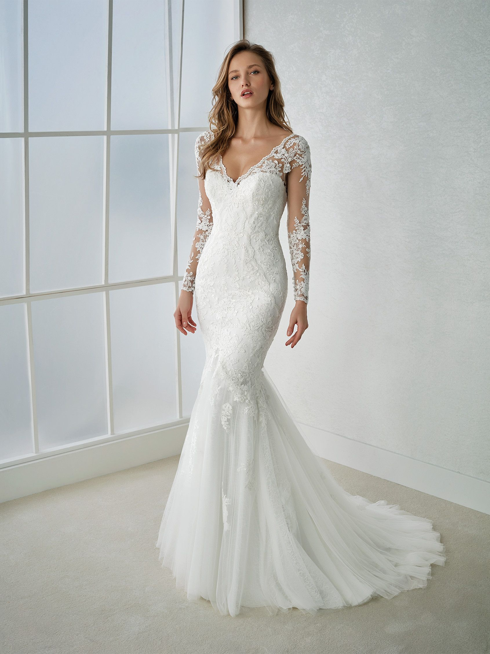 Sensual long sleeve mermaid wedding dress in embroidered tulle with ...