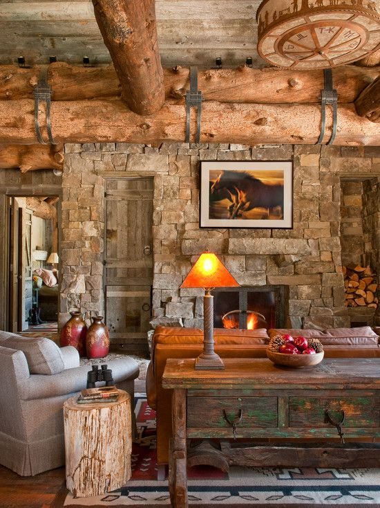 exciting log cabin cozy living rooms | Mountain Private Home: Rustic Log Cabin with Beautiful ...