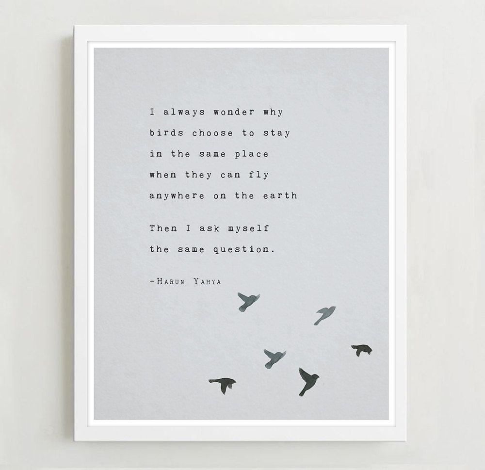 Poetry art print, Harun Yahya, inspirational quote poster ...