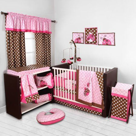 Bacati Lady Bugs Pink Chocolate Girls 10 Piece Nursery In A Bag Crib Bedding Set With Bumper Pad For Butterfly Crib Bedding Crib Bedding Girl Crib Bedding Sets