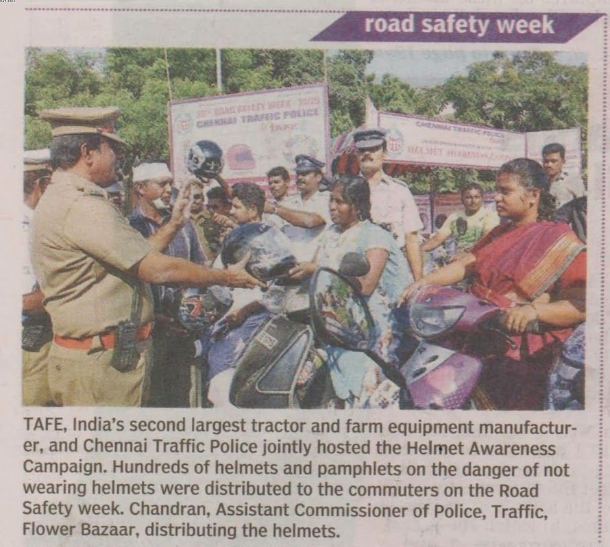 TAFE partnered with the Chennai Traffic Police in the