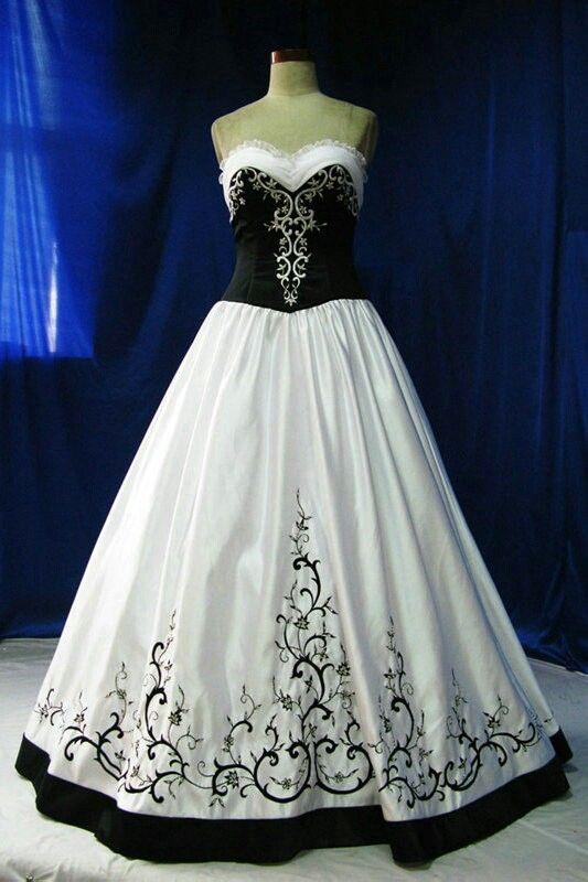 Black Top White Bottom Black White Wedding Dress Gothic Wedding Dress White Wedding Dresses