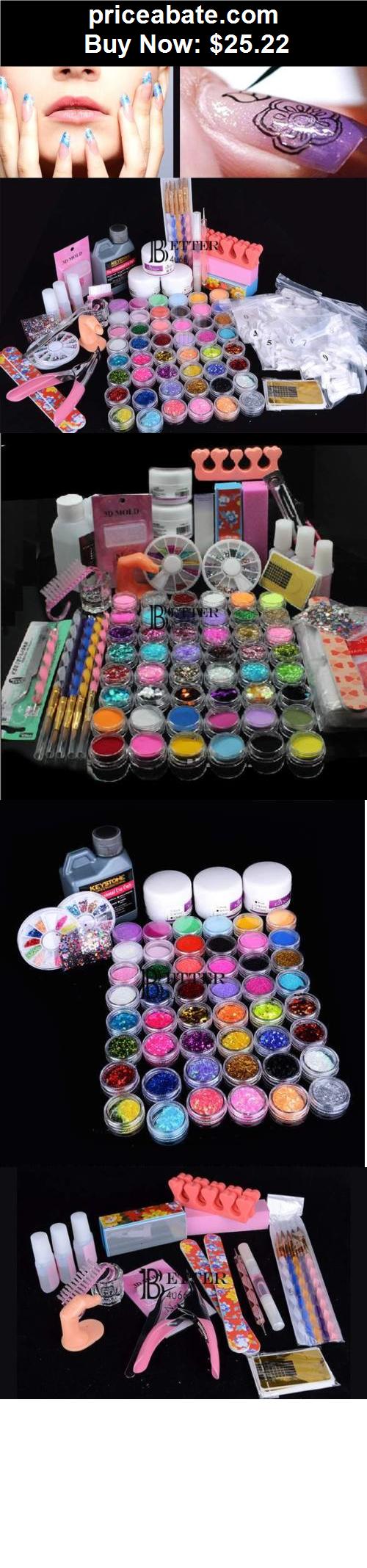 nails: Full 48 Glitter Acrylic Liquid Nail Art Set Pen Brush Glue UV ...