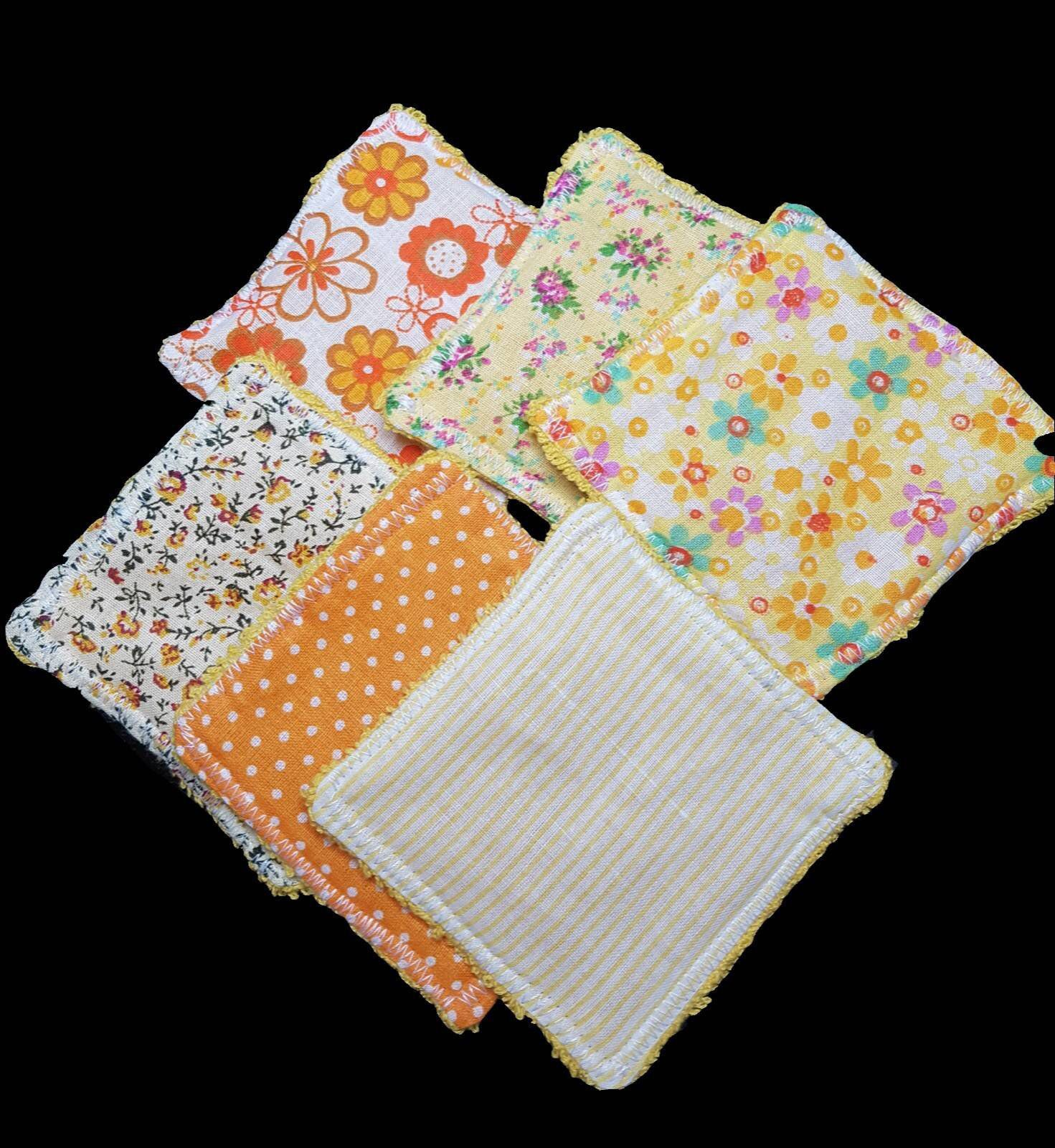 Reusable make up wipes in Orange mixed print, Eco Friendly
