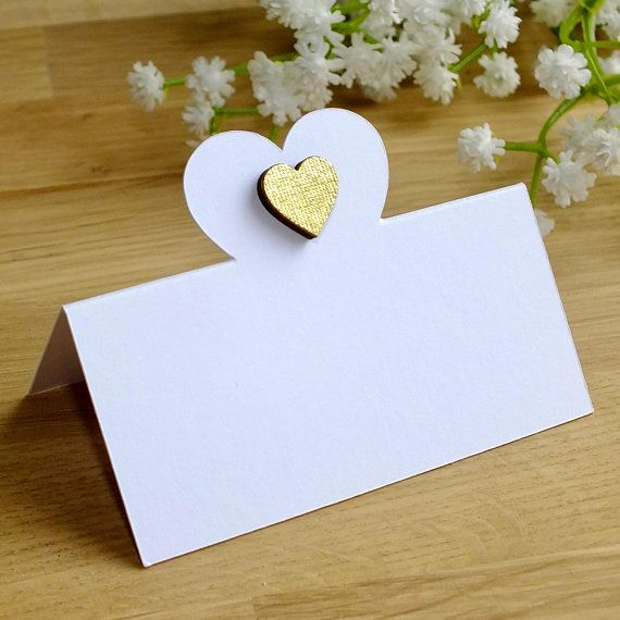 Gold Heart Wedding Place Cards Love Golden Guest Name Seating