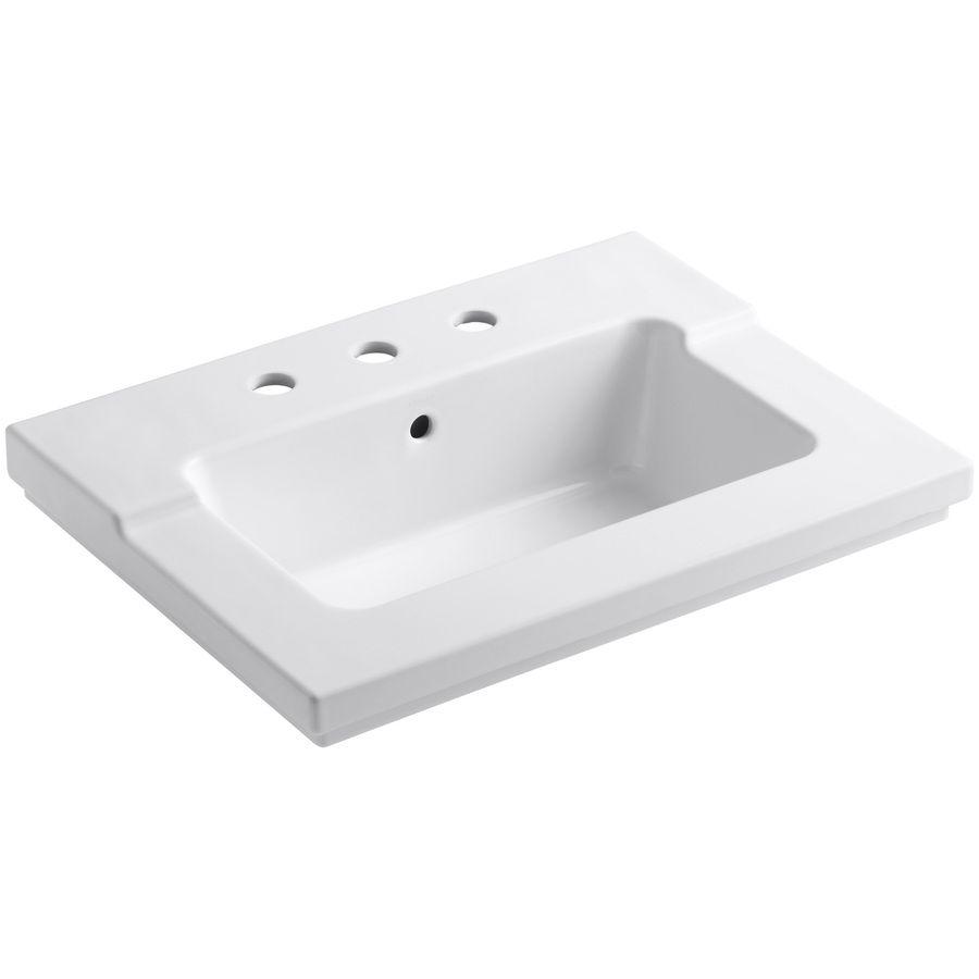 Kohler Tresham White Drop In Rectangular Bathroom Sink With Overflow Rectangular Sink Bathroom