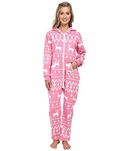 Ugly Christmas Sweater Party - Fair Isle Pink Adult Jumpsuit ...