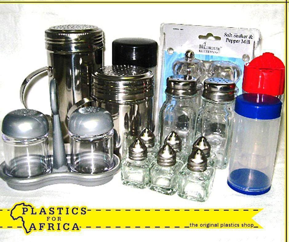 Salt and pepper shakers are available from your nearest #PlasticsforAfrica in plastic and stainless steel, so you can choose the one that suits the look of your table.