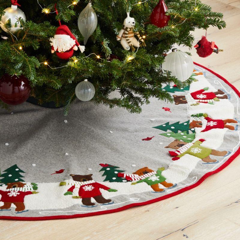 Skating Holiday Bears Tree Skirt Reviews Crate And Barrel Xmas Tree Skirts Christmas Tree Mat Cool Christmas Trees