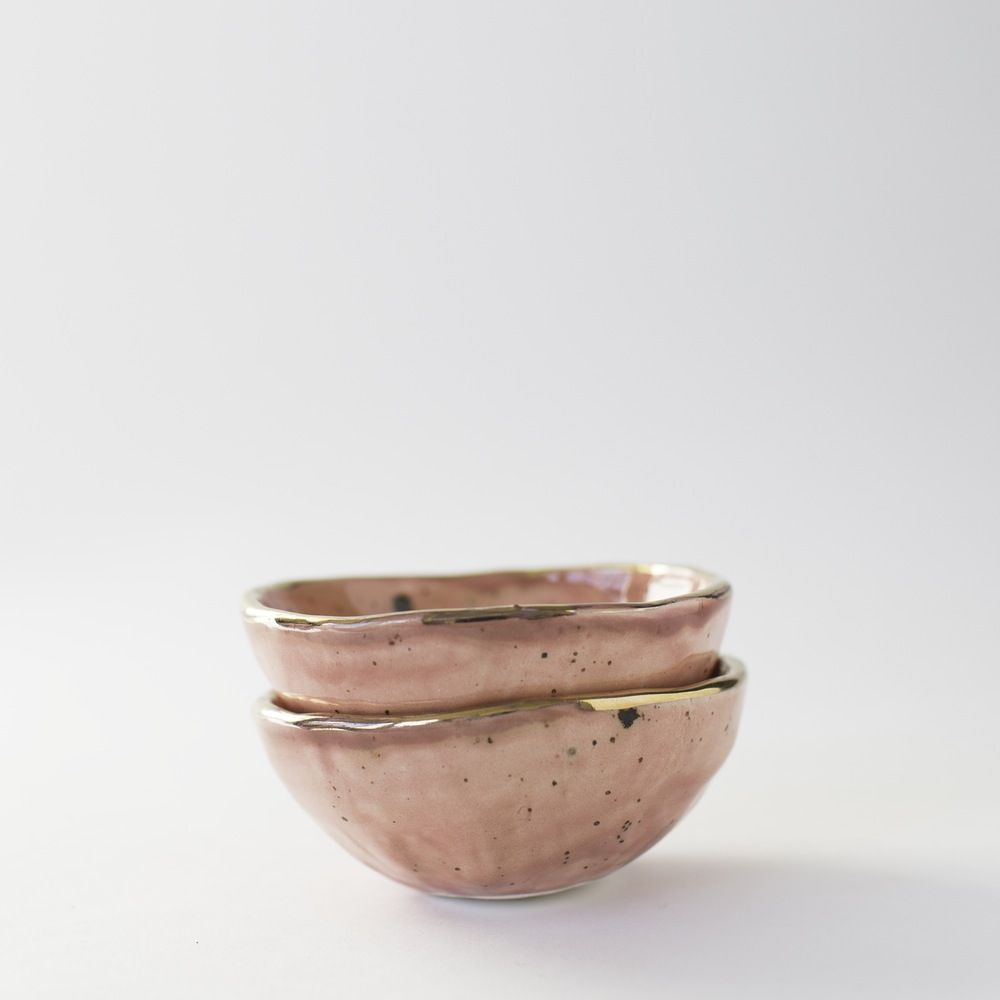 Image of Watermelon Salt Cellar with Gold Lustre