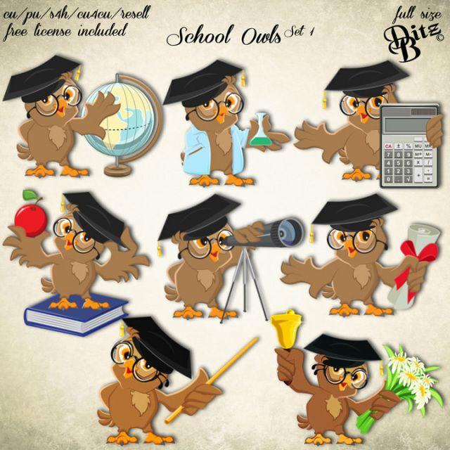 School Owls Set 1 | Clip art, Owl, Digital scrapbooking