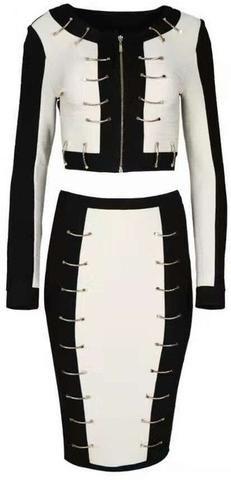 Metal Hook-Embellished Jacket & Skirt Set