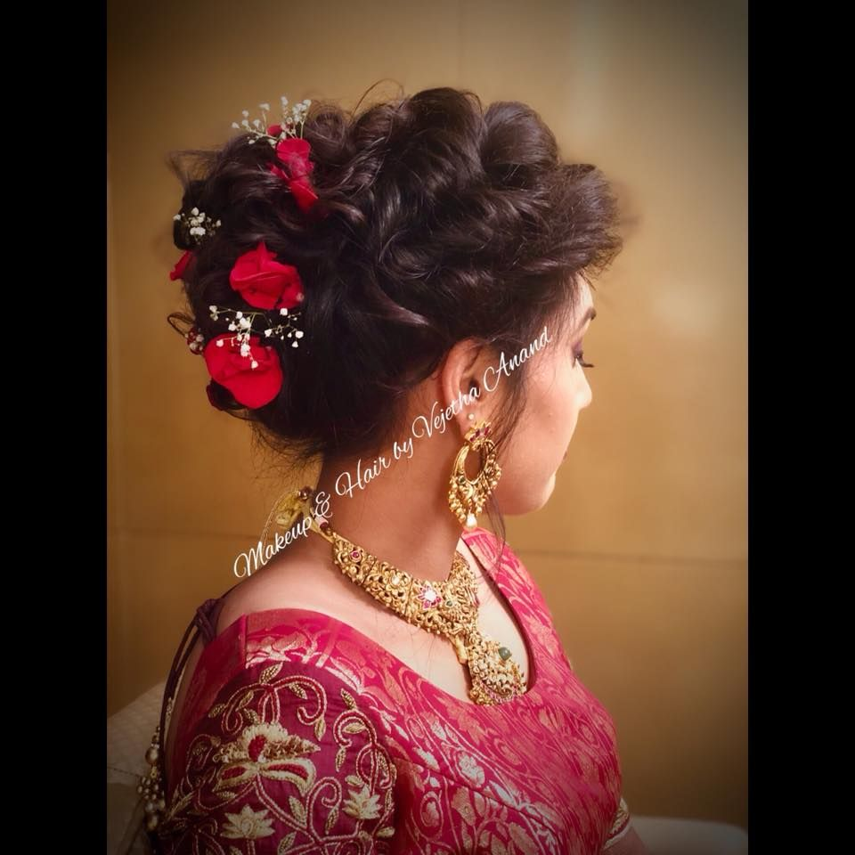 Bridal Updo By Mua Vejetha For Swank Bridal Hairstyle For Reception Bridal Hair With Bridal Hairstyle For Reception Bridal Hair Buns Indian Bridal Hairstyles