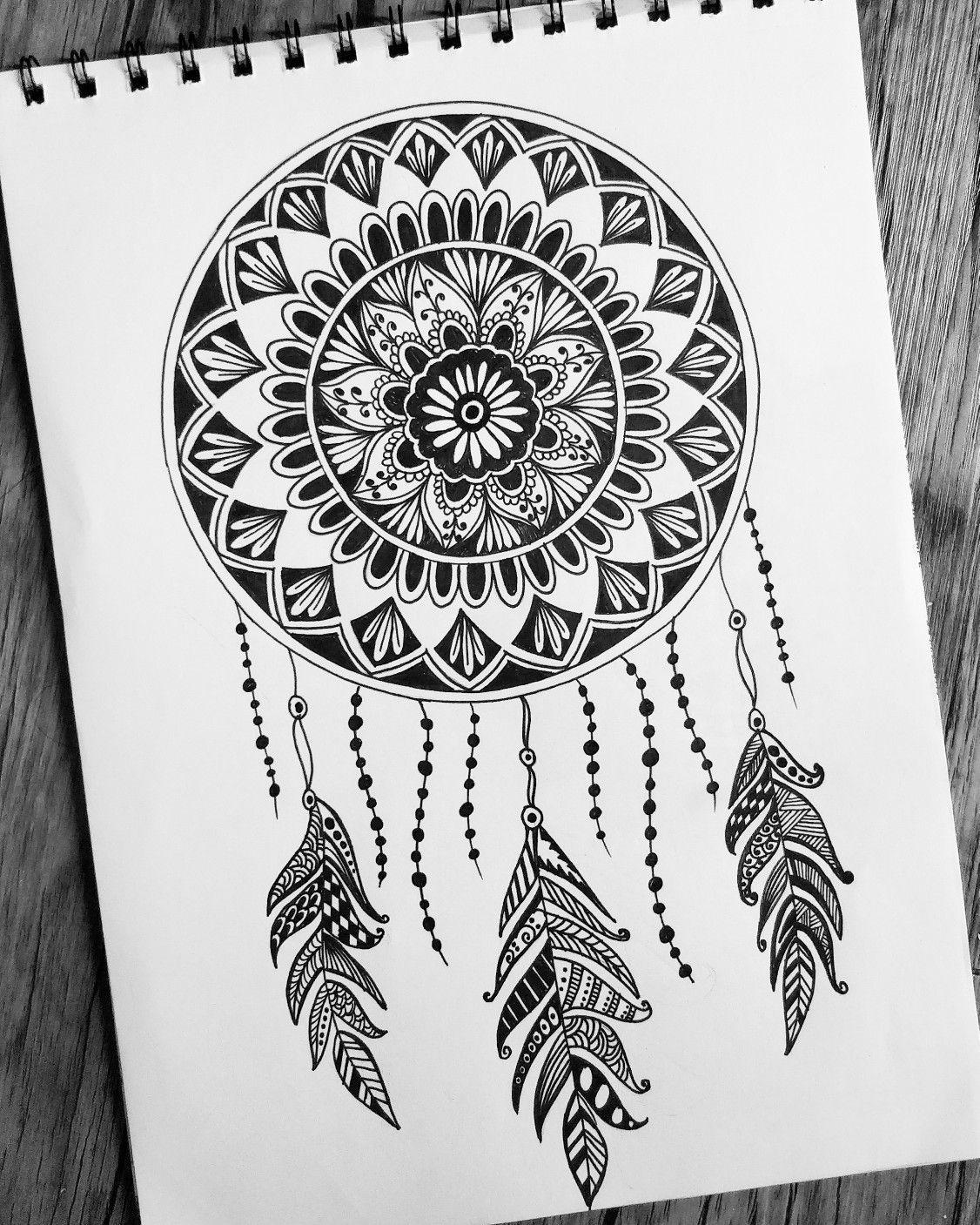 Dreamcatcher doodle mandala design art amazing art