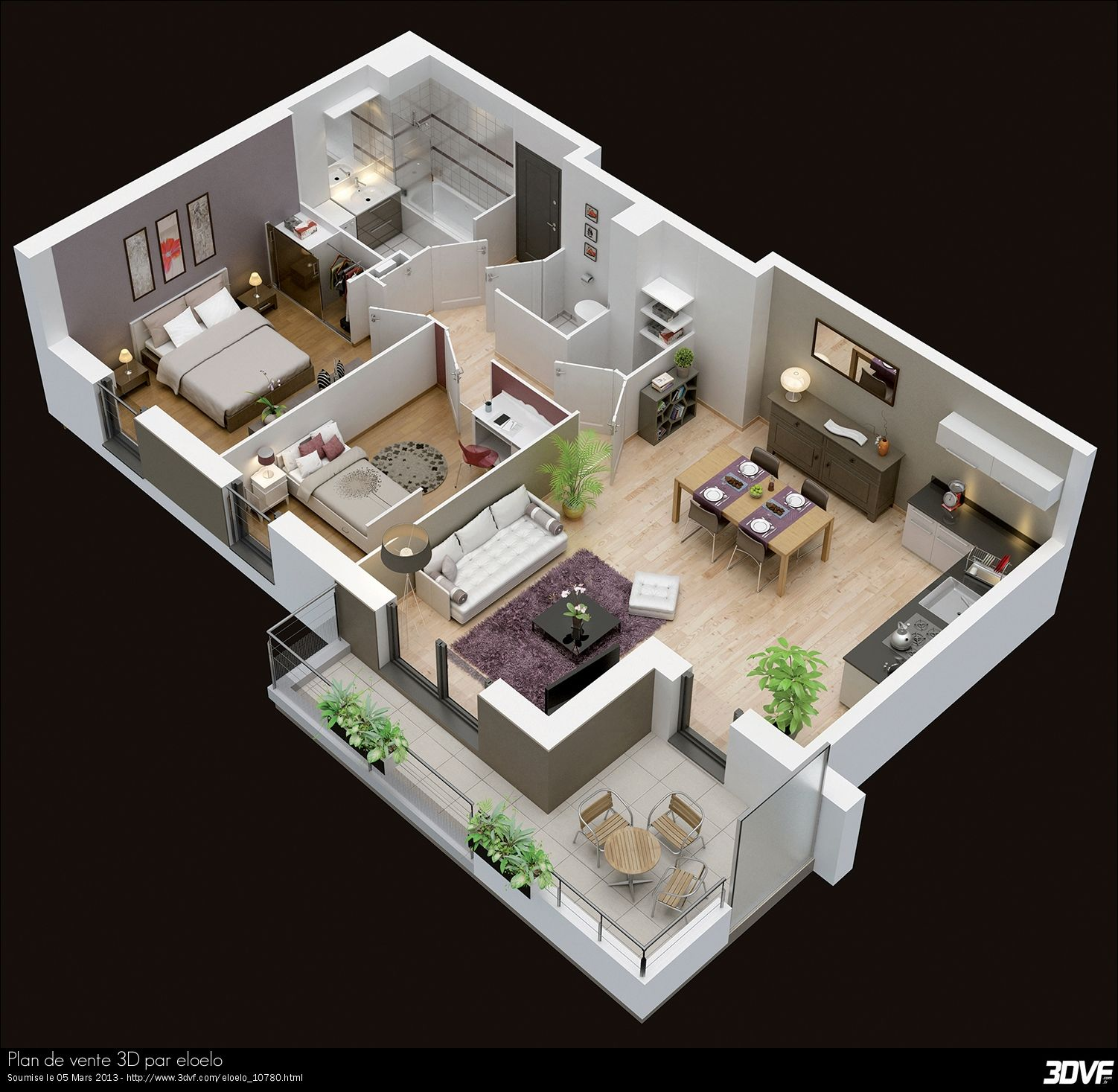 Plan maison moderne 3d 3d pinterest plan maison for Plans de maison 3d