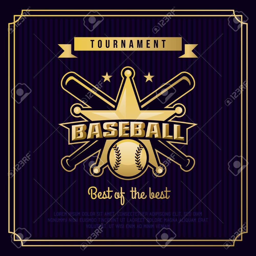 Photo of 野球バッジ, ロゴ, ビンテージ レトロ スタイル テンプレートでエンブレム トーナメント。