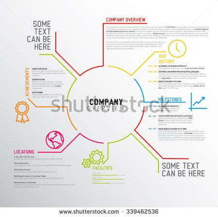 Vector Company infographic overview design template with thin line ...