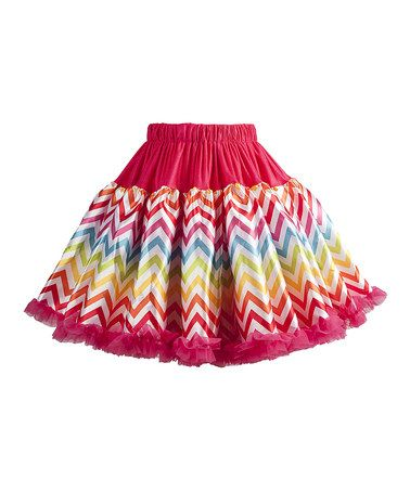 Another great find on #zulily! Hot Pink & Rainbow Zigzag Pettiskirt - Infant, Toddler & Girls #zulilyfinds
