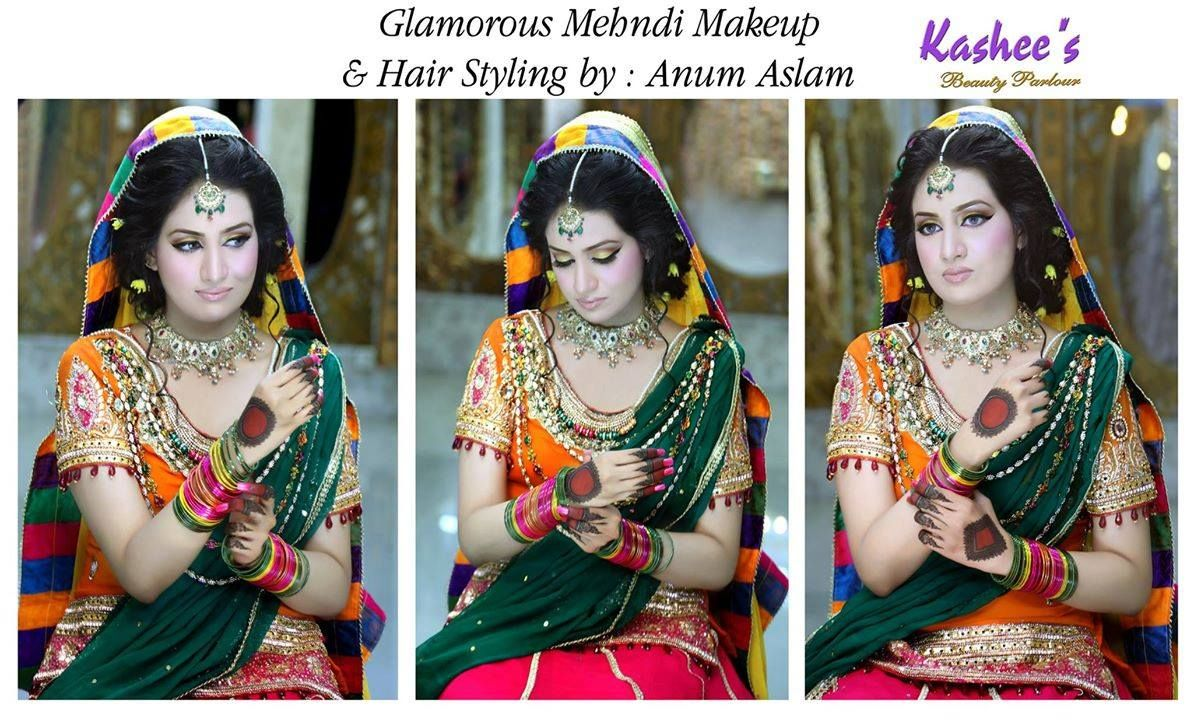 Mehndi Hairstyles S : Glamorous mehndi makeup and hair styling done by anum aslam