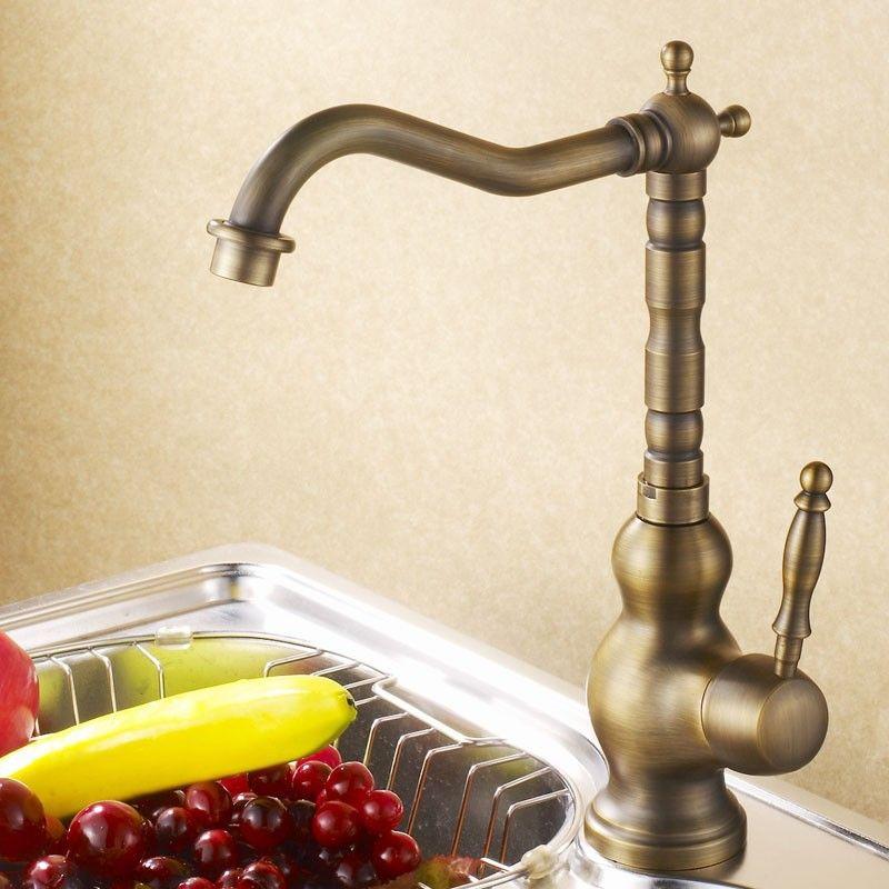 Antique Brass Finish Luxury Antique Crane Bathroom Kitchen Basin