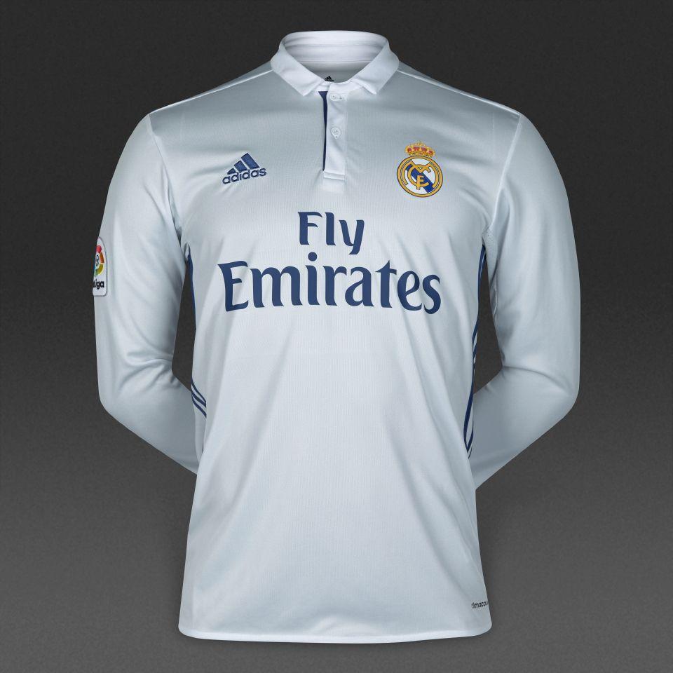 38373573c02 adidas Real Madrid 16/17 LS Home Shirt - Crystal White/Raw Purple ...