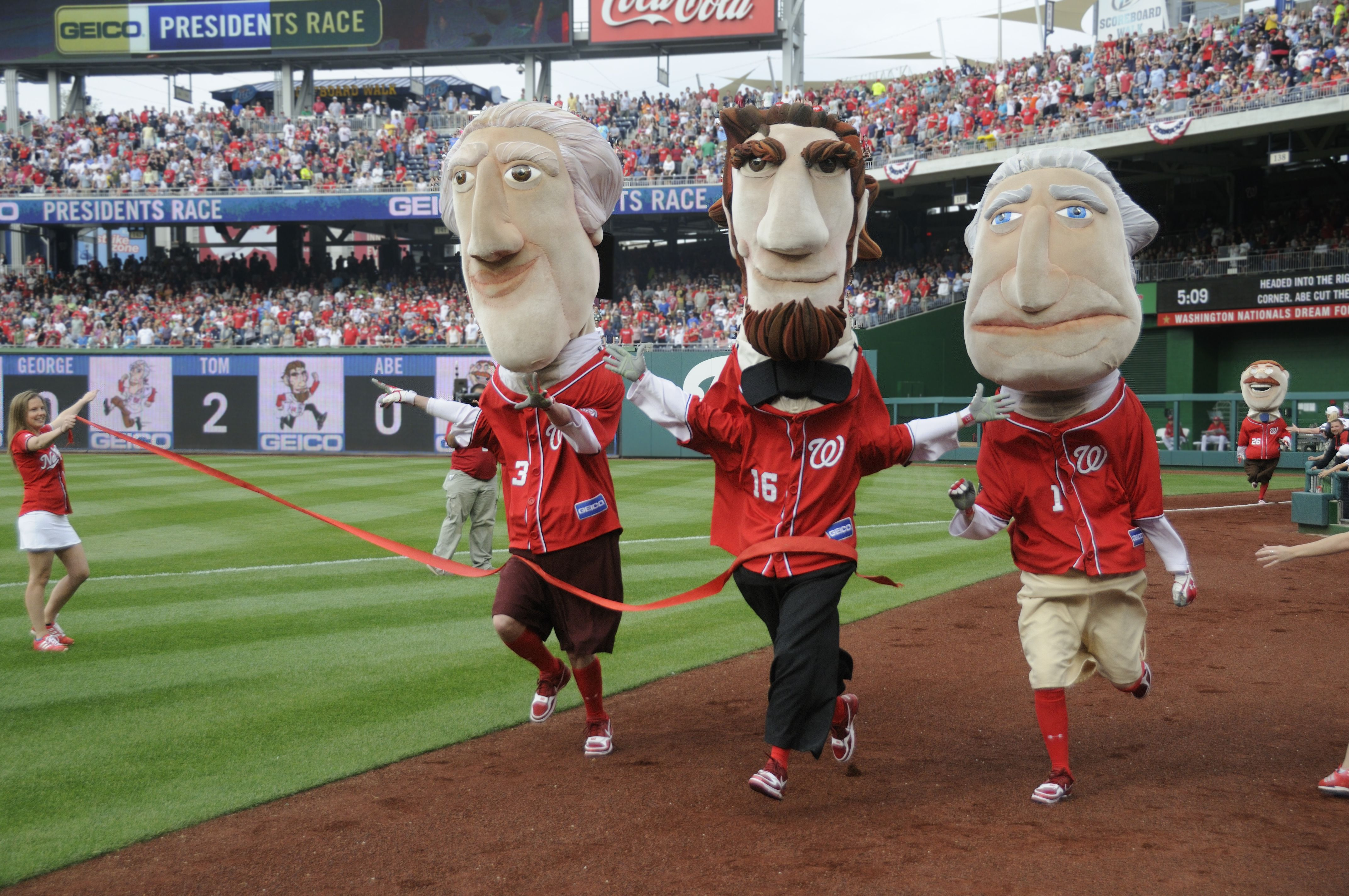 image relating to Washington Nationals Printable Schedule named Presidents race! Washington Nationals Baseball