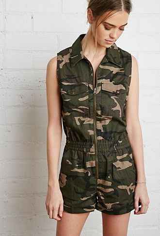 Zipper Front Camo Romper Forever 21 2000174719 Mrs T Costumes