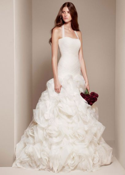 White By Vera Wang Organza And Satin Wedding Dress Davids Bridal Wedding Dresses Winter Wedding Gowns Satin Wedding Gown