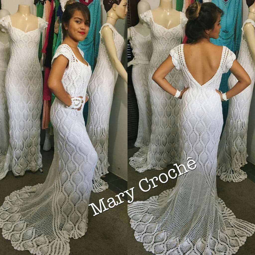 Pin de MD Mariscal en Vestidos Novia Crochet | Pinterest | Vestidos ...