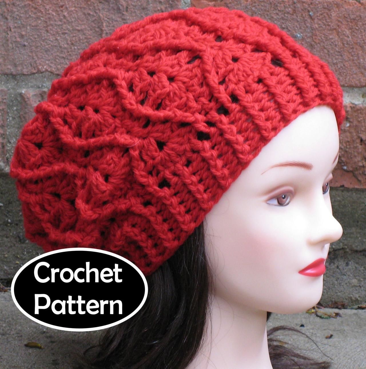 CROCHET HAT PATTERN - Maddie Slouchy Beret Beanie Cabled Hat Women ...