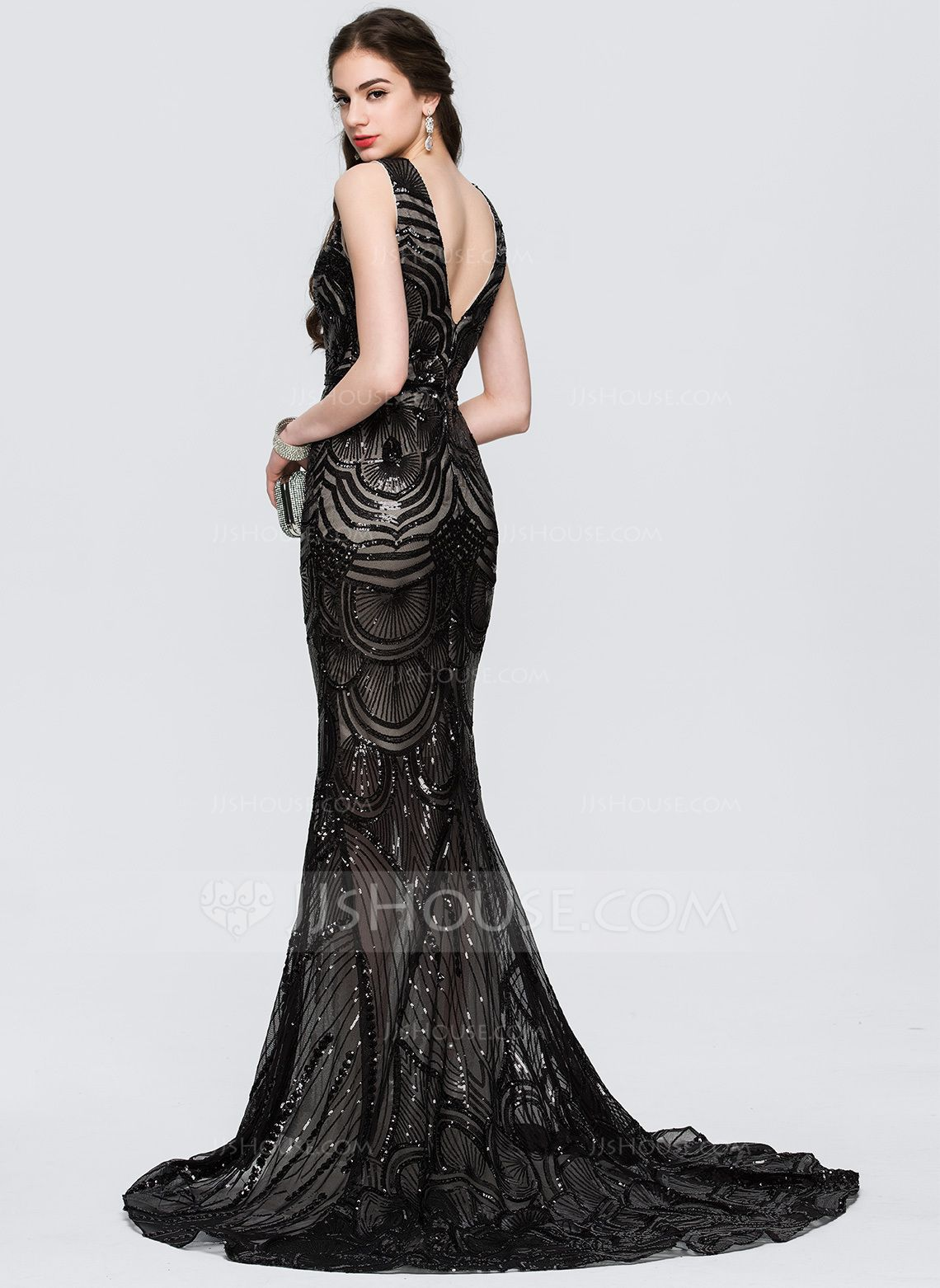 cdfdd67c Trumpet/Mermaid V-neck Sweep Train Sequined Evening Dress With Beading  (017164950) - Evening Dresses - JJsHouse