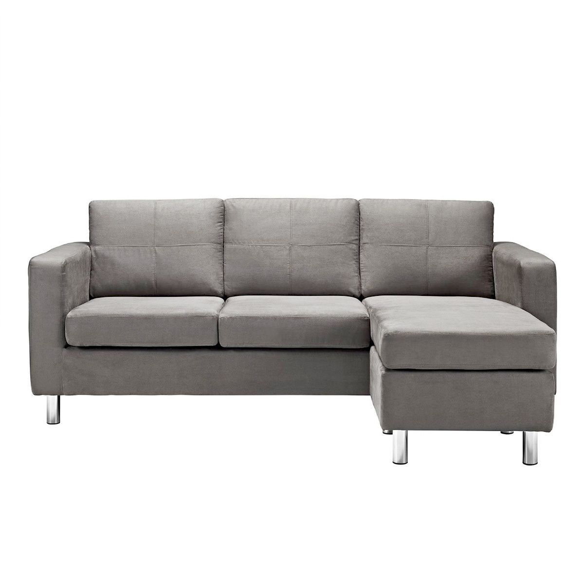 Best Modern Grey Microfiber Small Space Sectional Sofa With 400 x 300