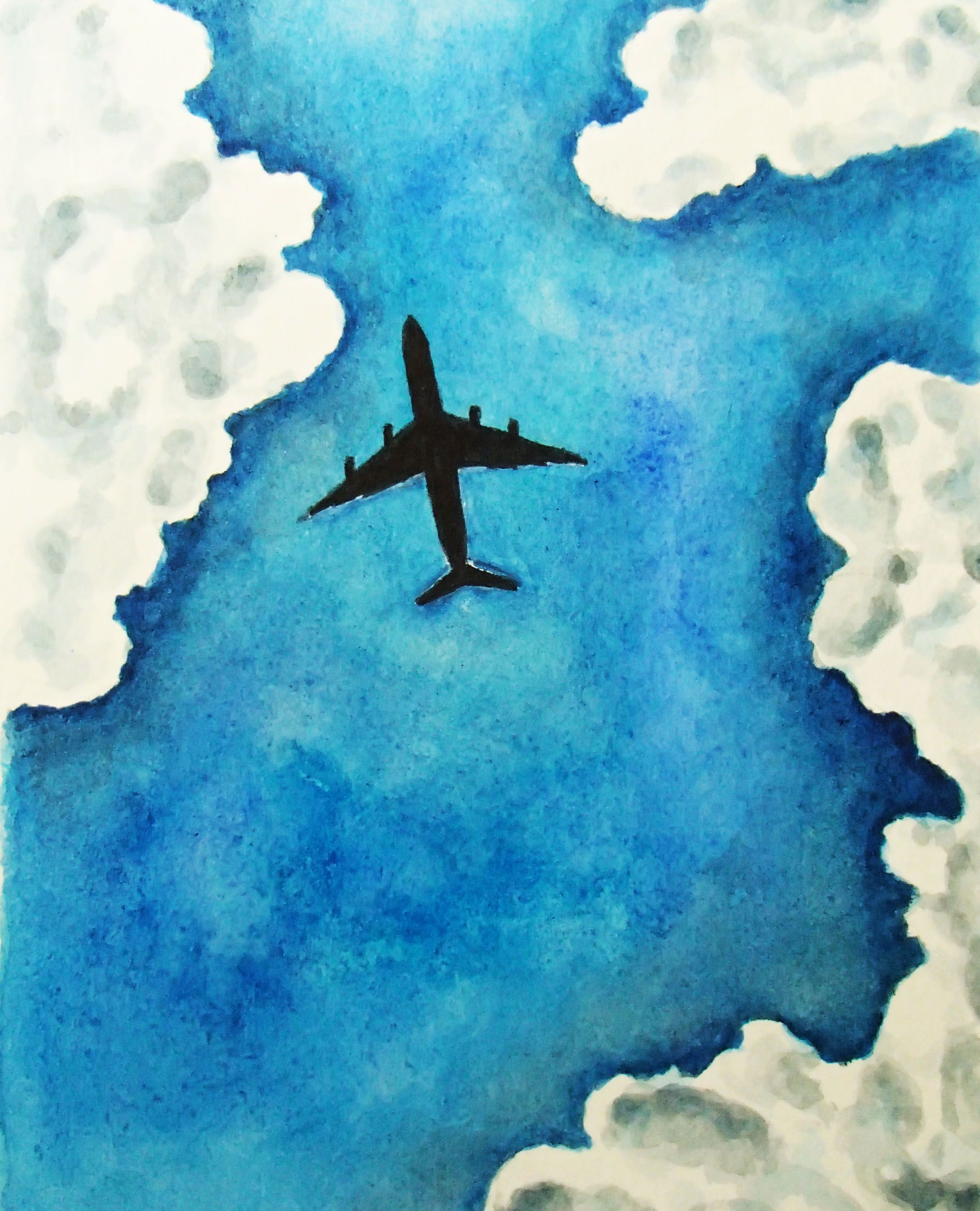 Watercolor Sky Clouds Plane With Images