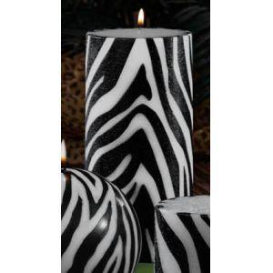 Pack Of 4 Gardenia Scented Zebra Print Pillar Candles Animal Fashions Women S