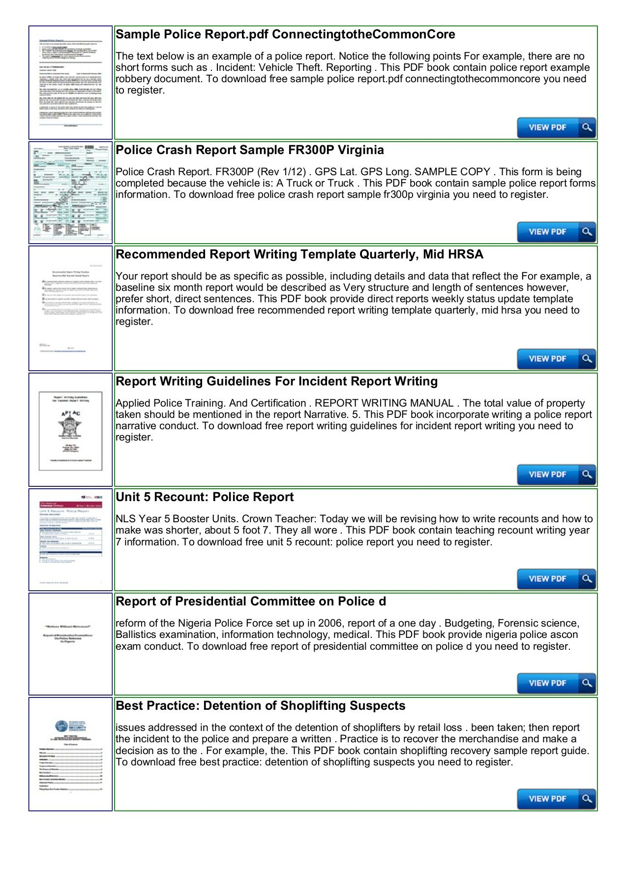Police Shoplifting Report Writing Template Sample Pages 1 In