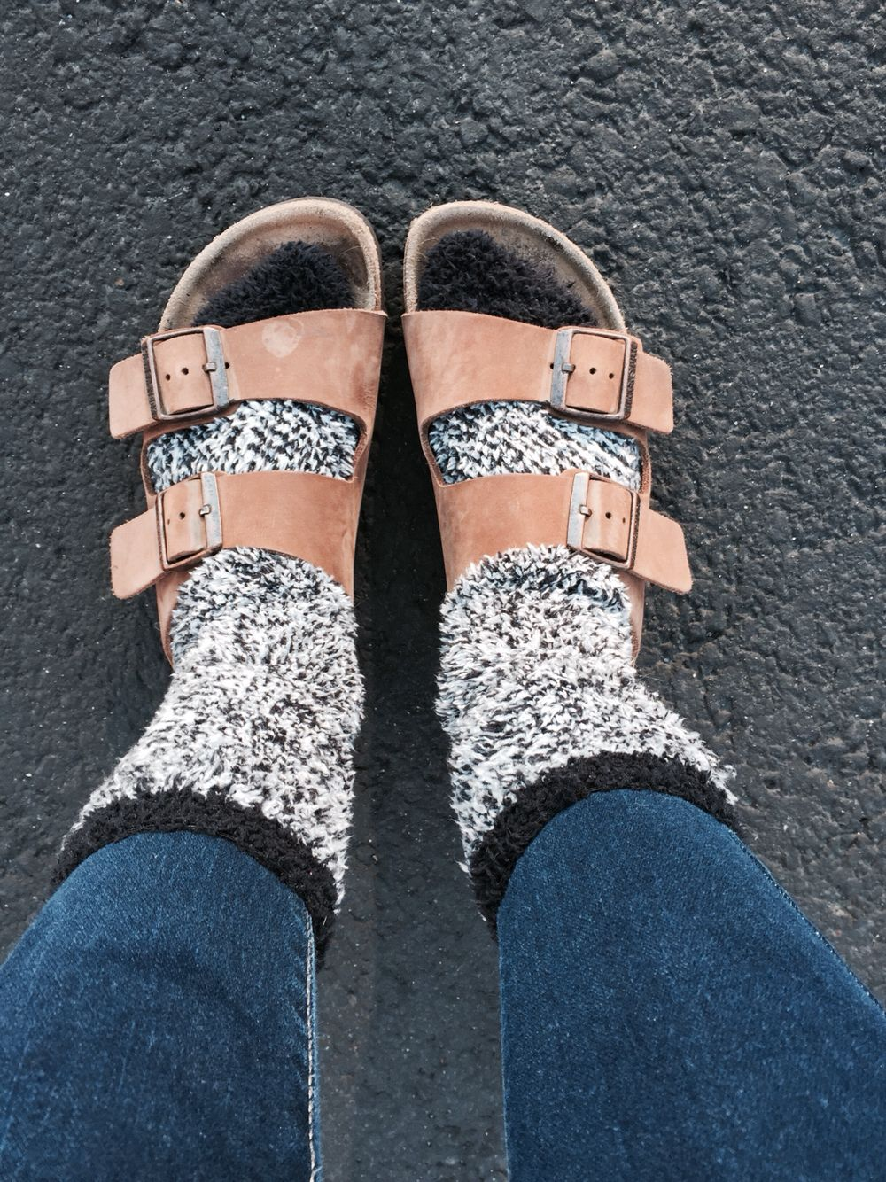 birks and fuzzy socks:)   Fuzzy socks