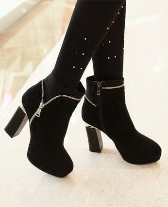 28f1a5d0f5d Chunky Heel Round Toe Leather Flocking Rubber Zipper Booties/Ankle Boots