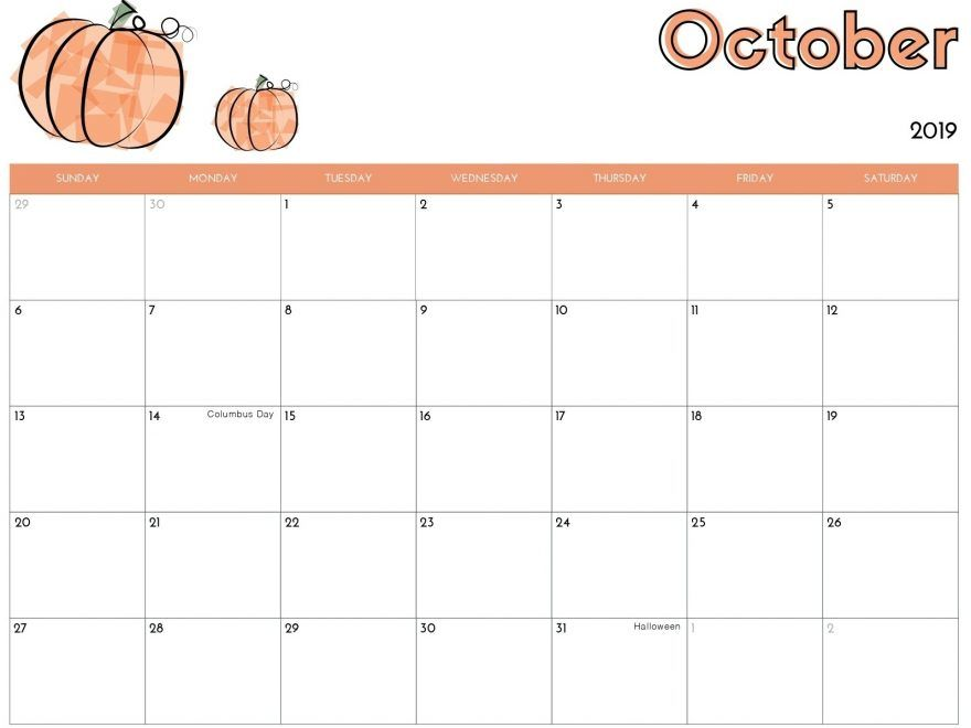 Cool Calendar Printable By Month 2020 October Halloween For School Cute October 2019 Calendar with Holidays   Free Printable Calendar
