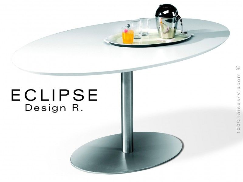 table ovale eclipse sur pied central inox | home - kitchen