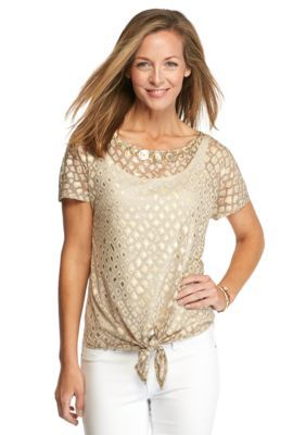 Ruby Rd  Petite Keep It Neutral Embellished Burnout Top