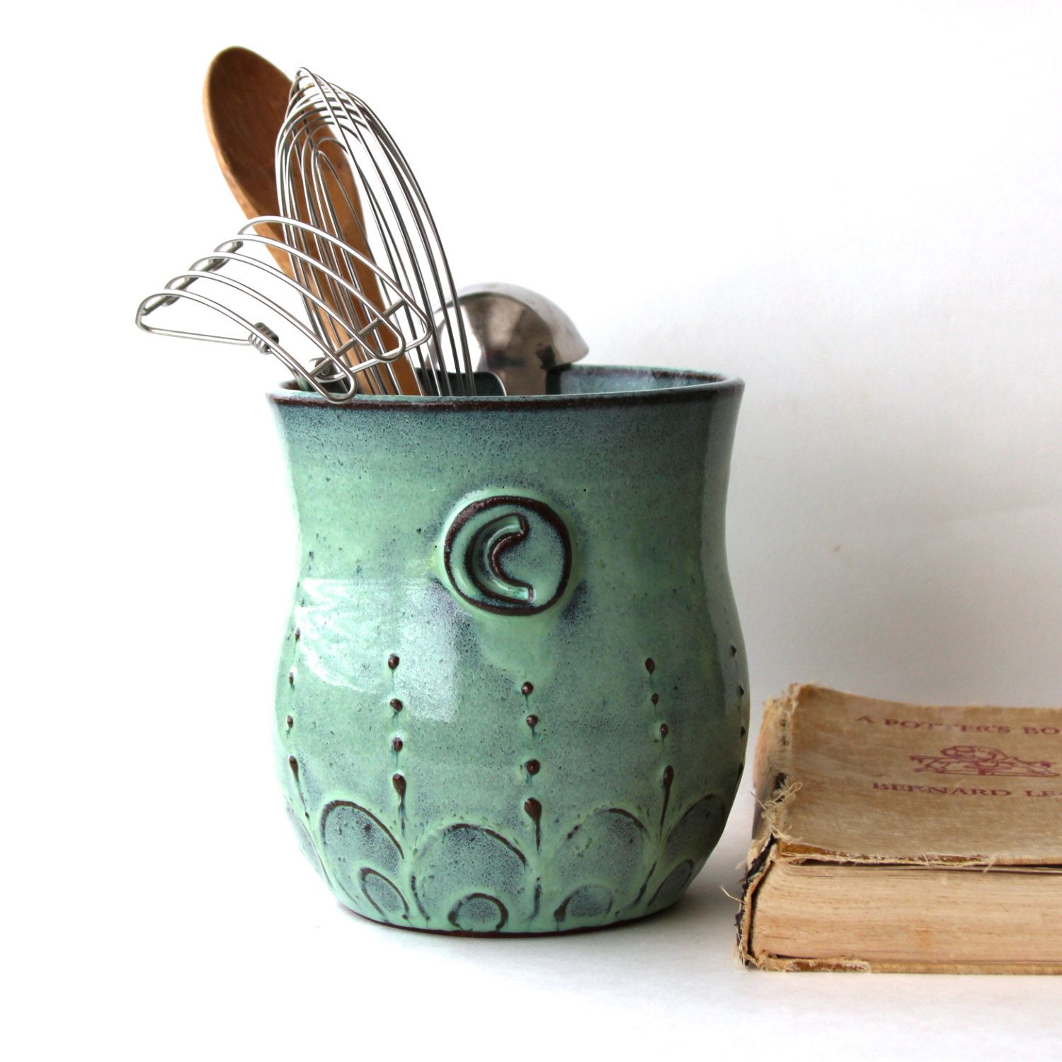 Exceptional Monogram Kitchen Utensil Holder   Aqua Mist   Large Size   French Country  Home Decor