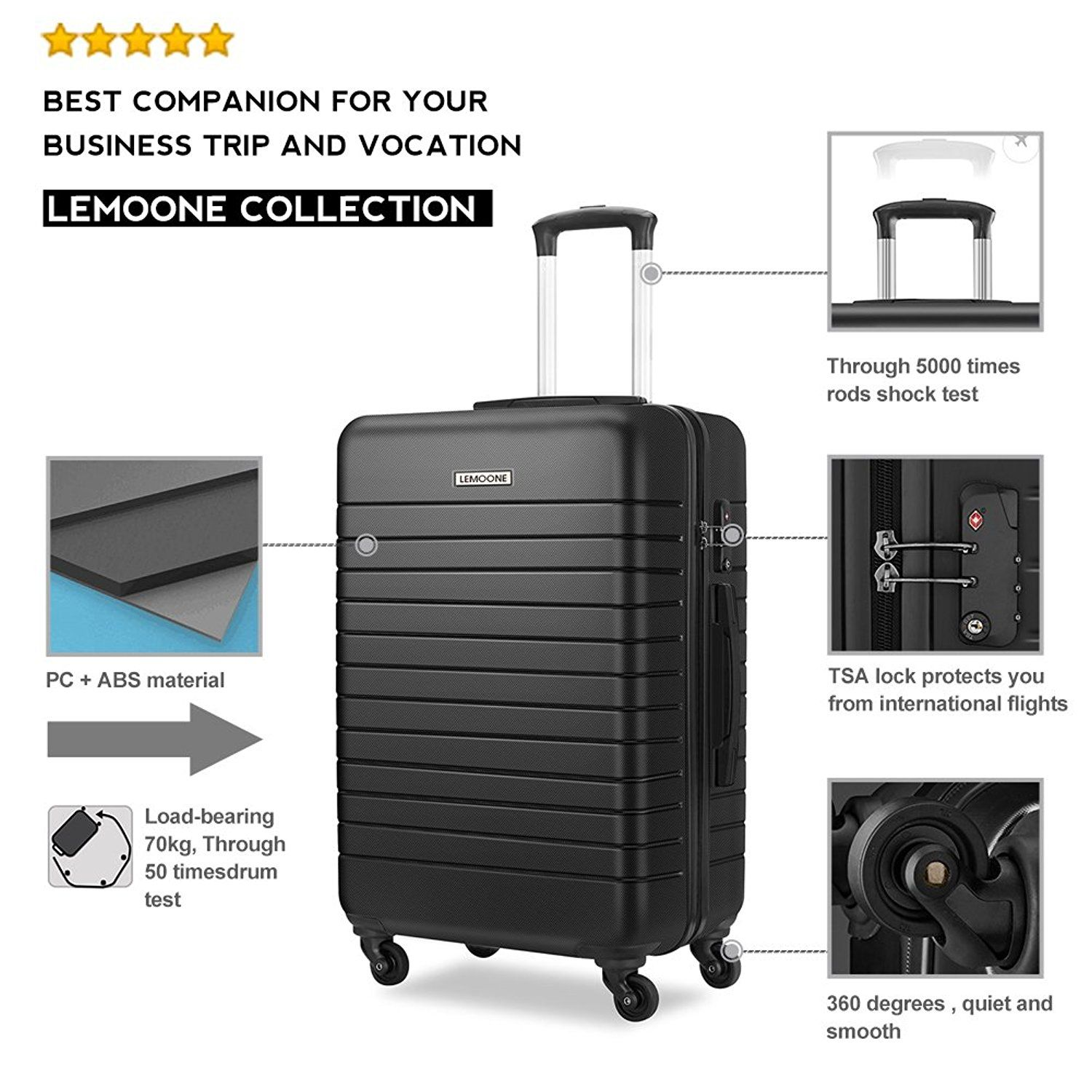 """20/""""//24/""""//28/"""" Dark Blue Luggage sets 3 Piece Expandable Suitcase set Lightweight Hardshell with Spinner"""