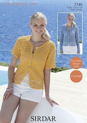 Sirdar Cotton Dk Cardigans Crochet Pattern Larger Sizes 7740