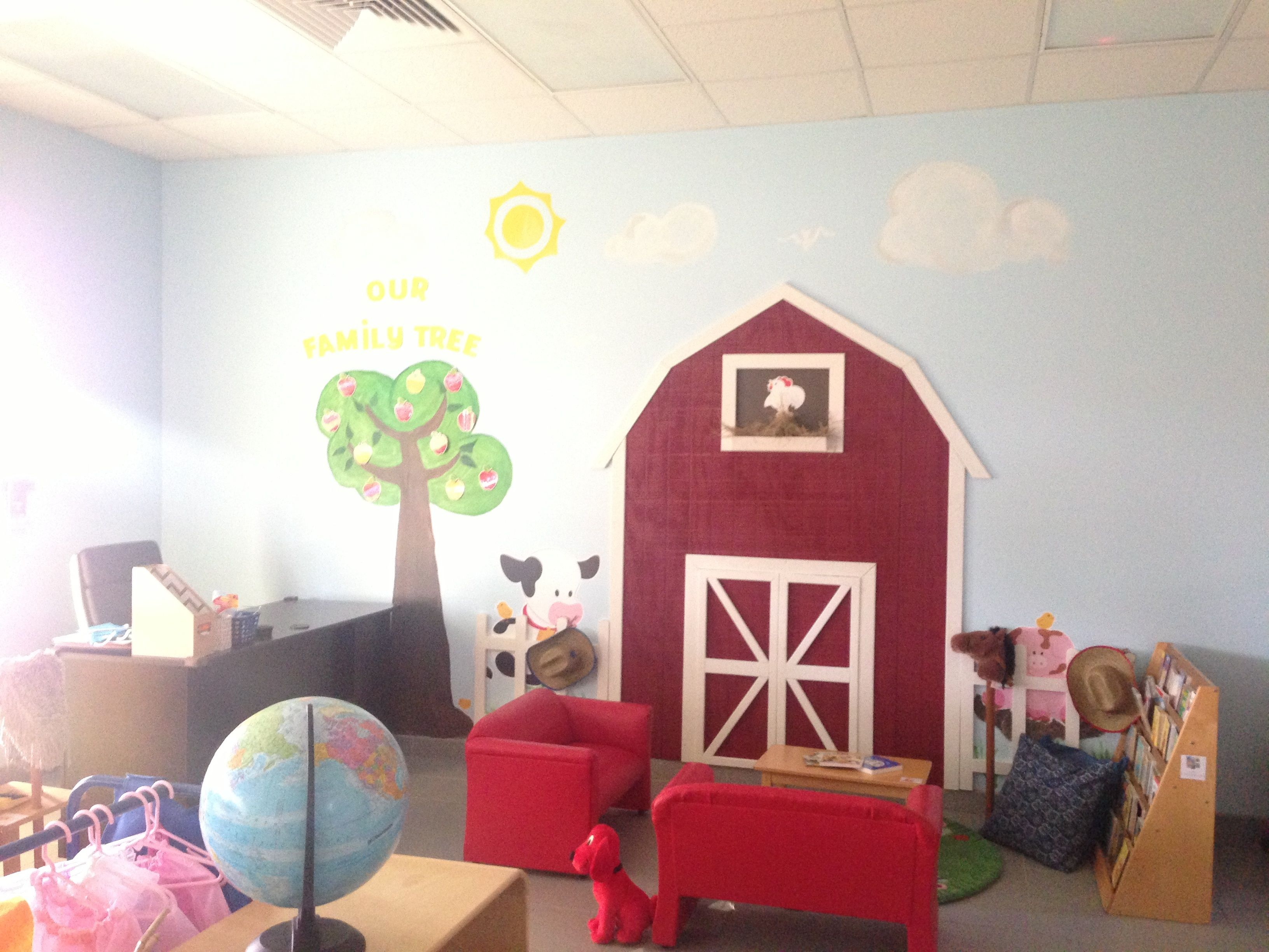 Best paint colors for preschool classrooms - Barn Theme Preschool Classroom