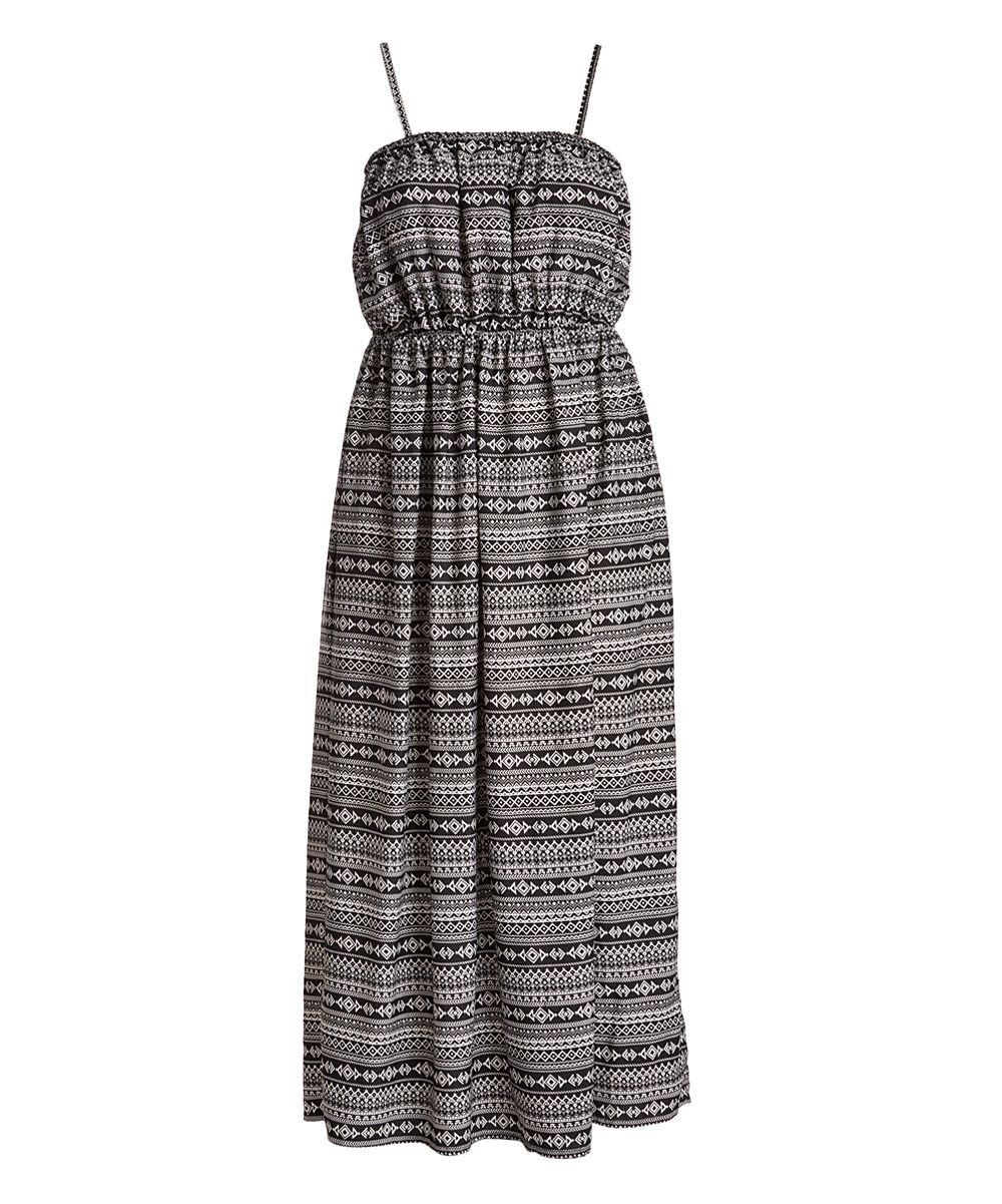 Black u white geometric maxi dress plus products pinterest