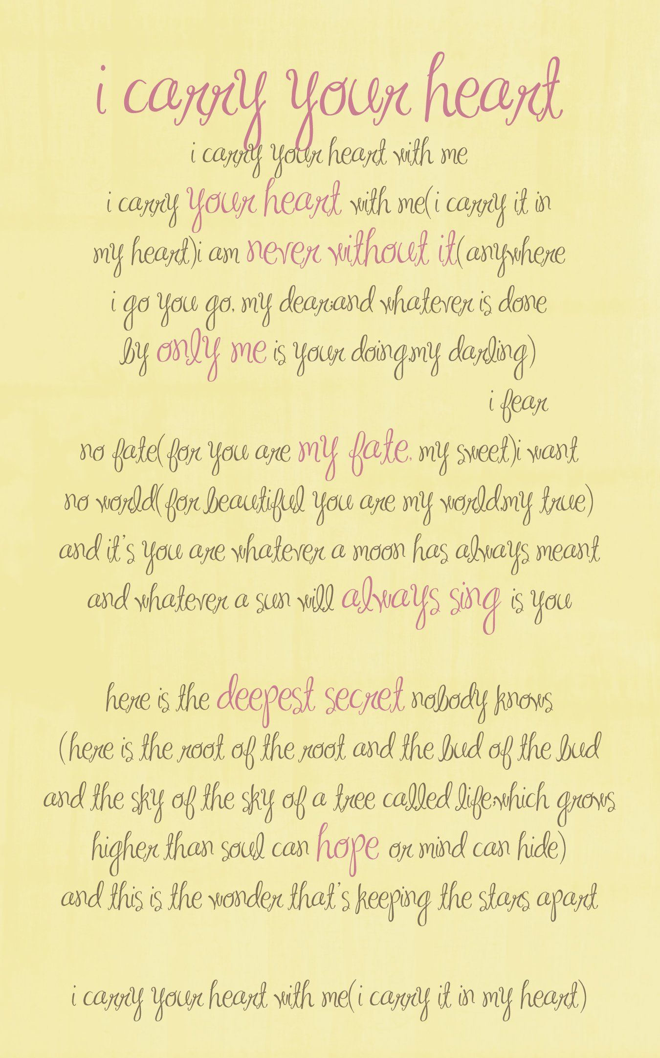 I Carry Your Heart by E E Cummings ♥ ♥ ♥ | sayings/words/quotes ...