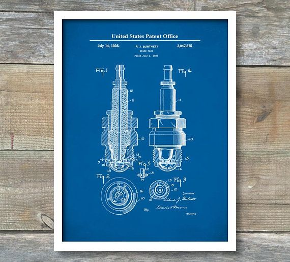 Spark plug art car patent prints digital blueprint art automotive spark plug art car patent prints digital blueprint art automotive decor engine malvernweather Gallery