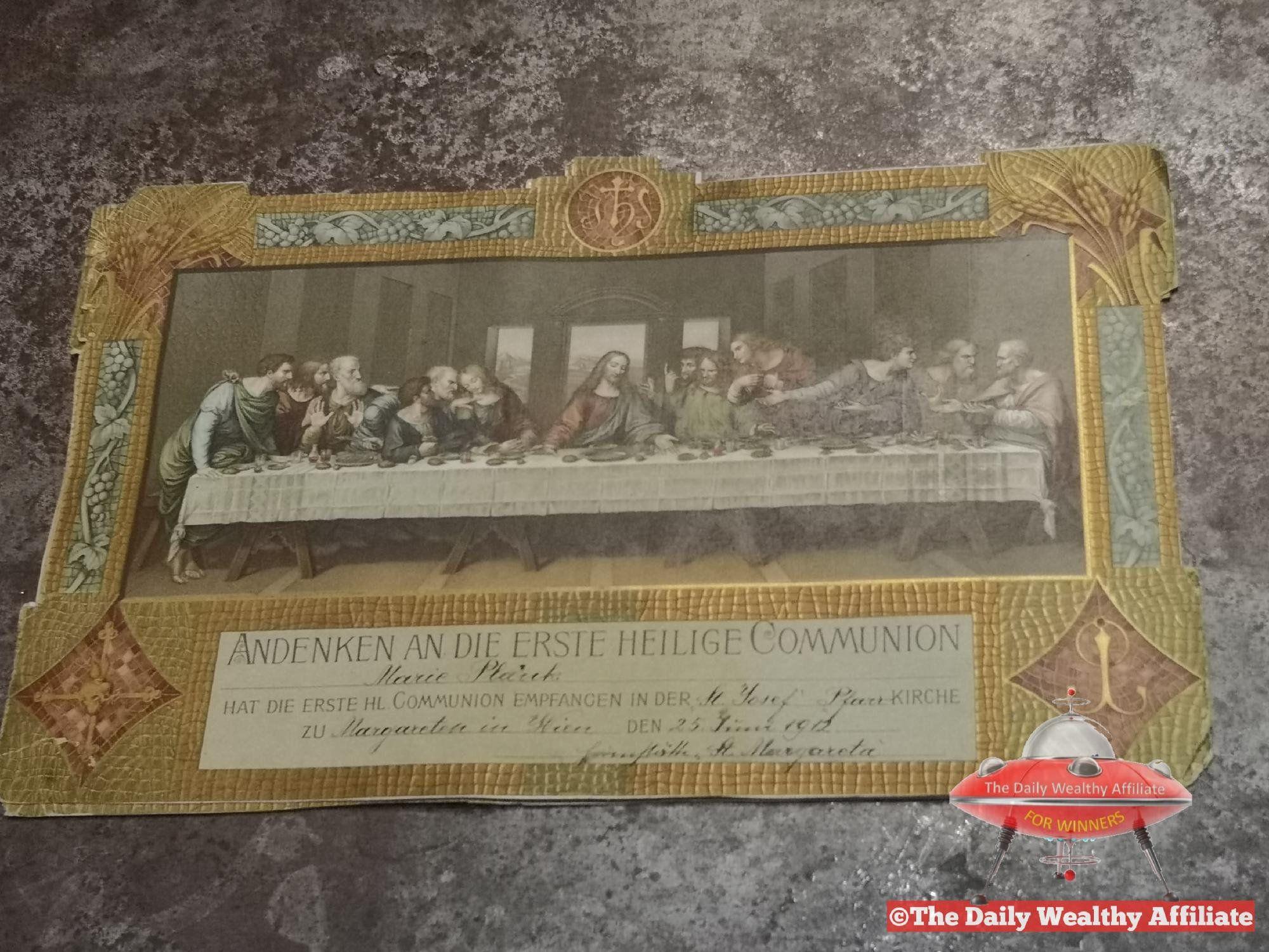 1912 Andenken an Die Erste Heilige Kommunion Antique Document