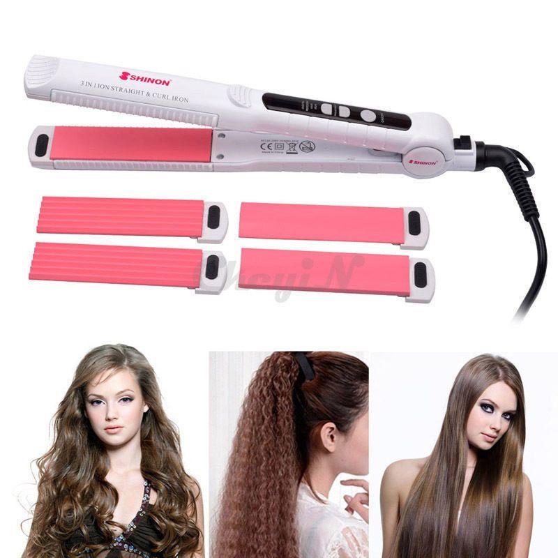 3 In 1 Professional Ceramic Hair Curler Straightener Hair Corn Hot Styling Plate Ckeyin Flat Iron Hair Styles Hair Crimper Hair Straighteners Flat Irons